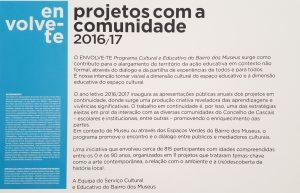 Descrição das características do projeto ENVOLVE-TE 2016/2017 em cartaz
