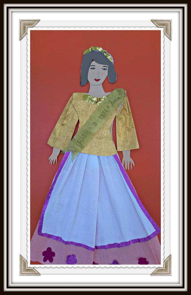 Recorte e colagem representando a rainha D. Estefânia