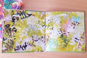 As guardas do livro de Rita Correia são compostas por recortes que imitam folhas de árvores. Podemos ler algumas palavras como um tesouro, o vento, o sol, um segredo, uma adivinha, meu e teu.