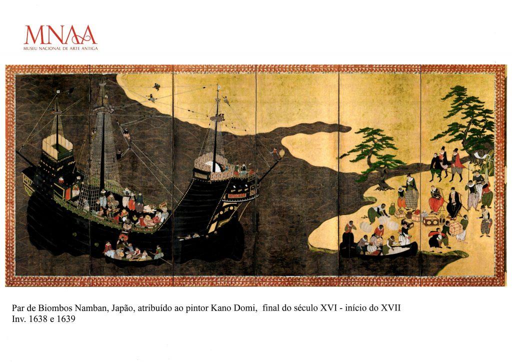 Imagem do biombo representativo da chegada da embarcação portuguesa à costa japonesa