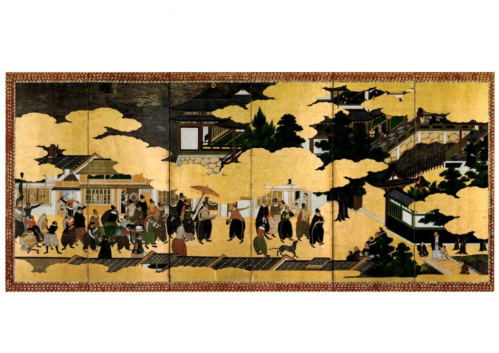 Imagem representativa do biombo que ilustra a chegada dos portugueses ao Japão