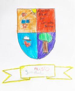 Desenho de brasão com árvore, sol, castelo e coração