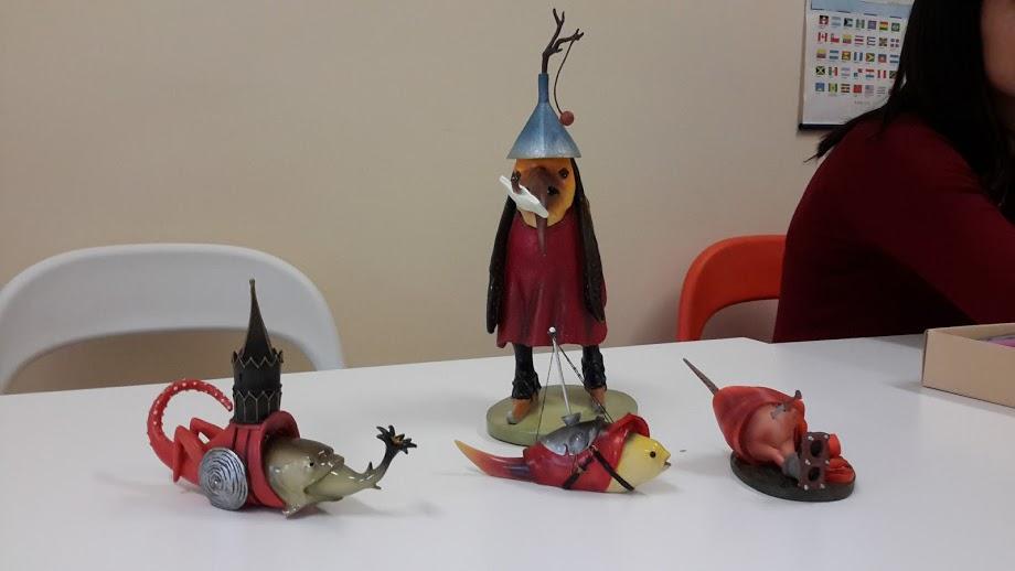 Quatro criaturas em 3D da pintura As Tentações de Santo Antão