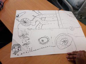 """O cadavre exquis completo sobre o tema """"carro"""": rodas, caminhos que se entrecruzam, uma rotunda e uma casa entre outros rabiscos."""