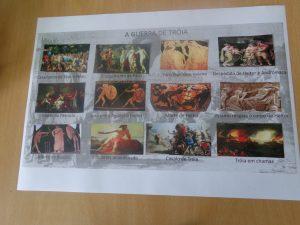 Folha com imagens dos deuses e heróis gregos
