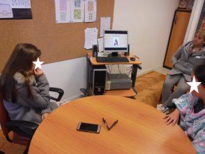 Alunos em videoconferência com o IPO