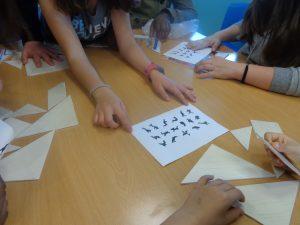 Peças de tangram e algumas formas possíveis