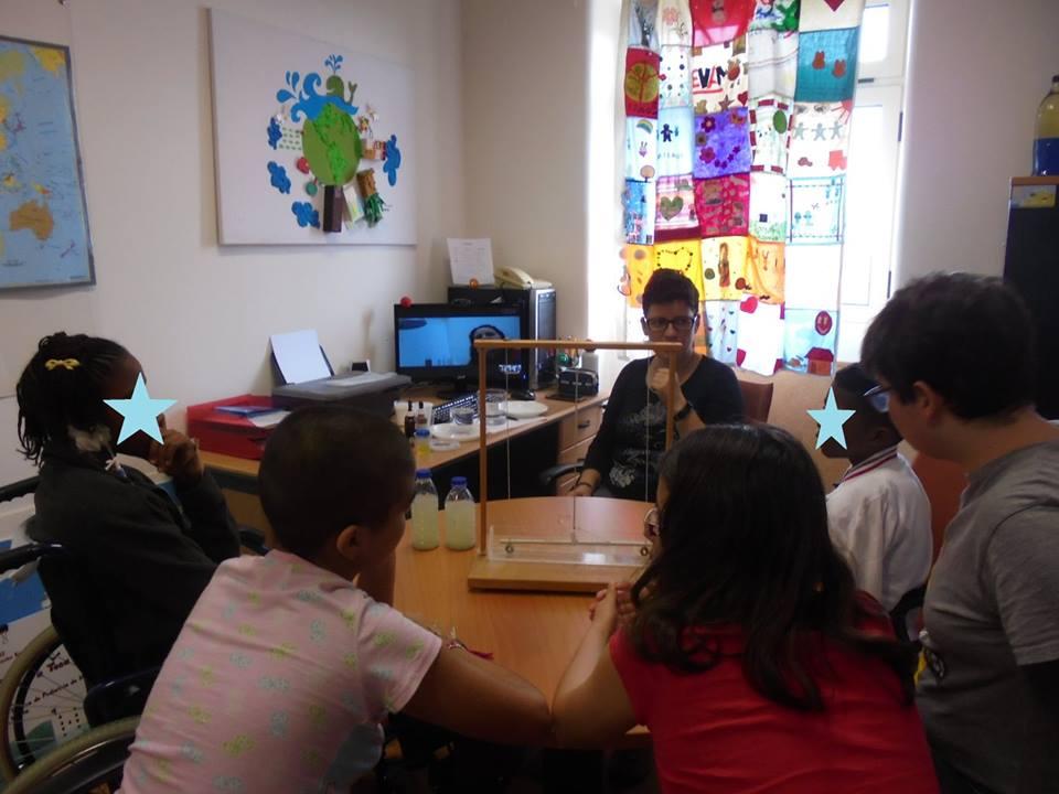 Videoconferência com a Sandra do Pavilhão do Conhecimento e dispositivo para fazer películas de sabão