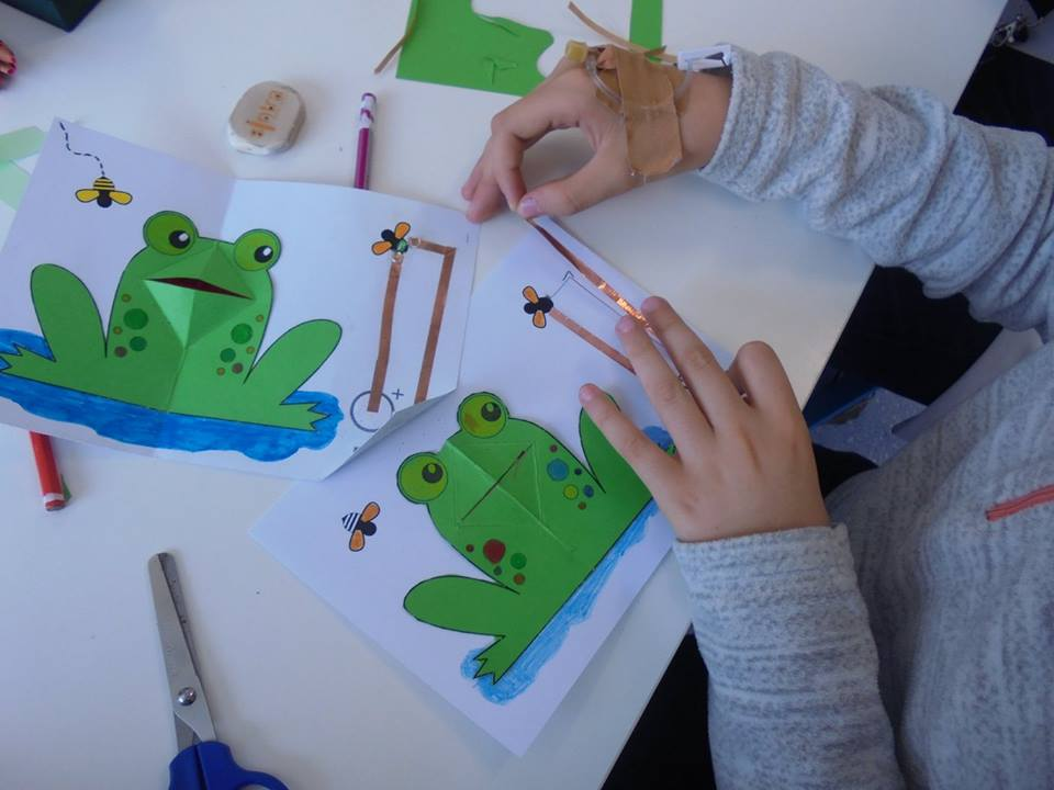 Criação de um postal com sapo, moscas e LED