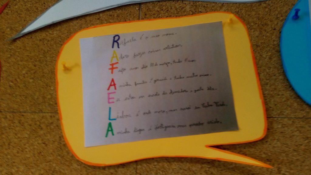 Balão de fala com acróstico da Rafaela