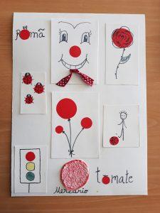Trabalho sobre pontos vermelhos: tomate, nariz de palhaço, joaninhas, romã, semáforo, balões, bola, flores, planeta mercúrio
