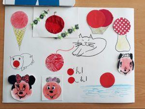 Trabalho final com desenhos elaborados a partir de um círculo vermelho: Minie, sol, cogumelo, novelo de lã, maçã, sorvete, porco.