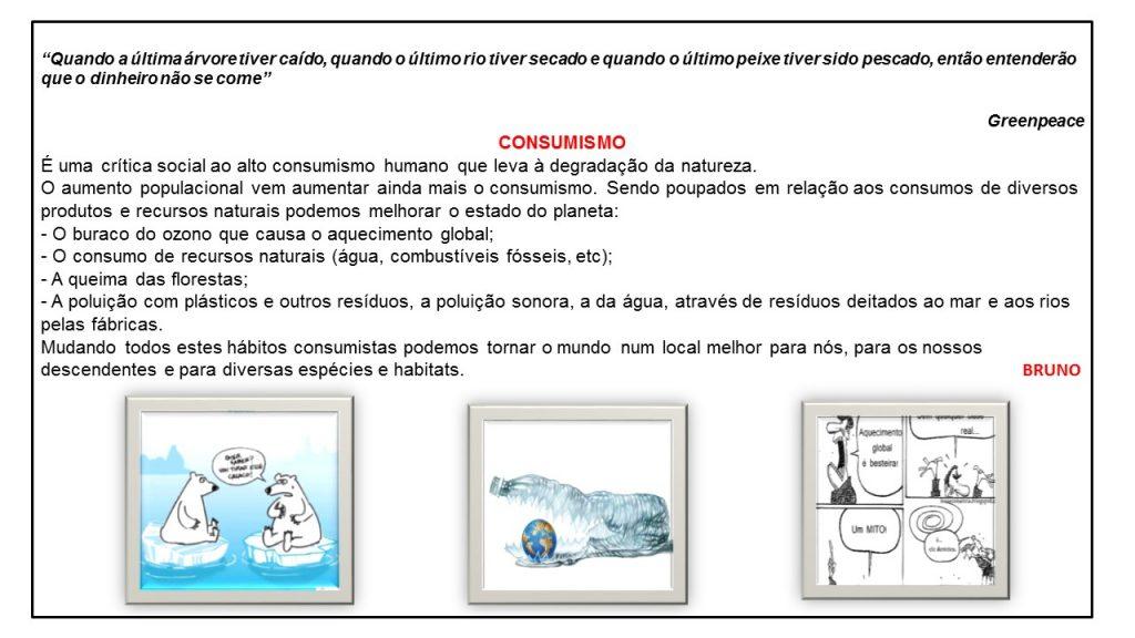 Texto sobre consumismo com imagens e cartoons decorativos