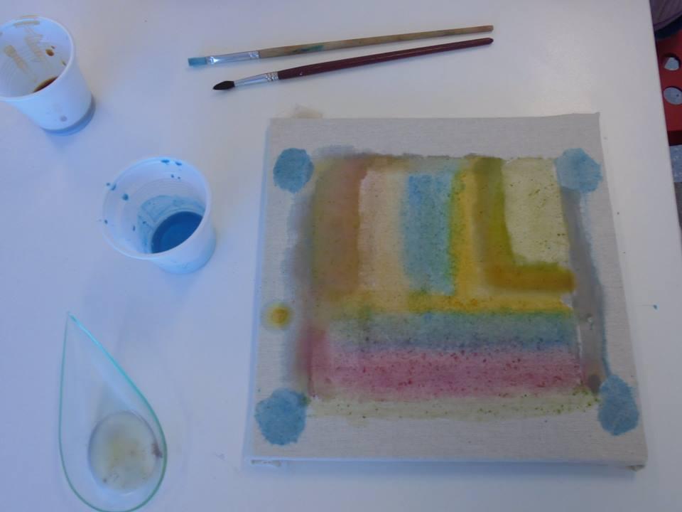 Quador pintado com as tintas fabricadas