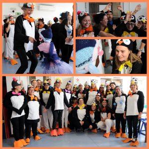 Composição fotográfica com alunos, professoras, educadoras ,etc vestidos de pinguins