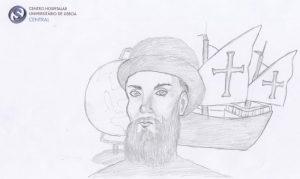 Desenho a lápis de Fernão de Magalhães com caravela atrás