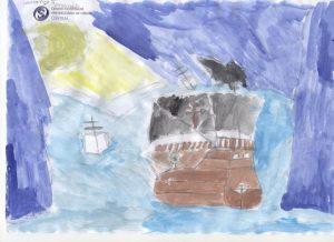 Aguarela com nau de Fernão de Magalhães e mar