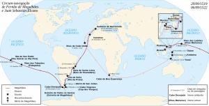 Mapa com a rota de Fernão de Magalhães