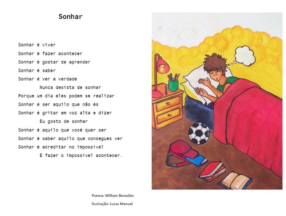 Poema e ilustração (jovem na cama dorme e há uma mochila e livros e uma bola pelo chão ) sobre sonhar