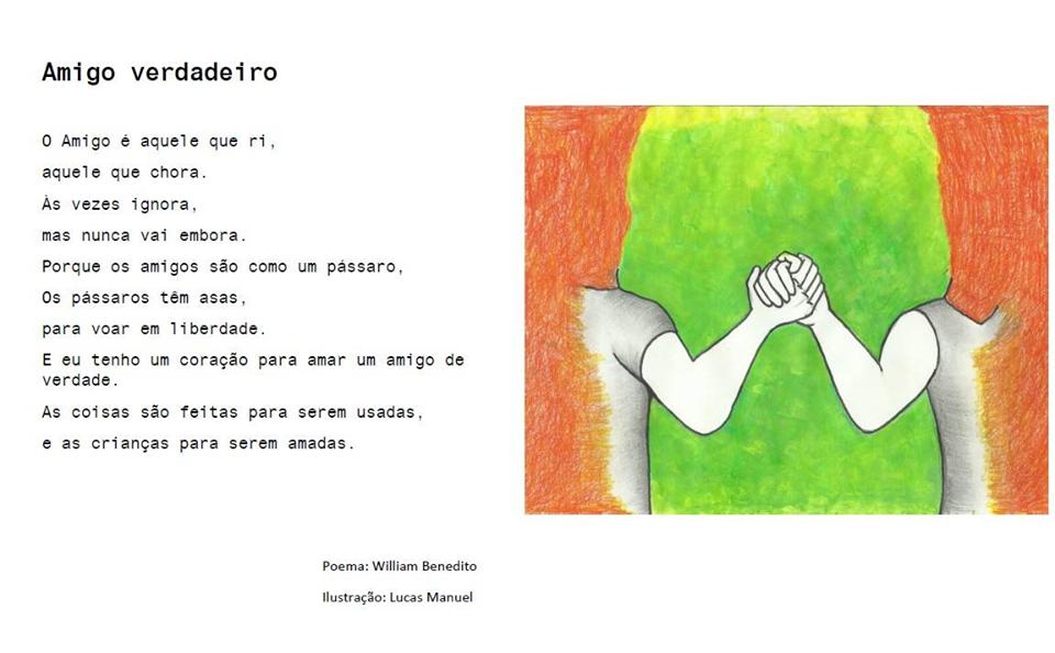 Poema e ilustração (pessoas de mão dada) sobre amizade verdadeira