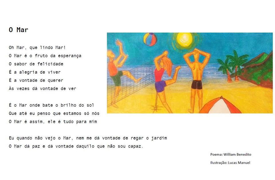 Poema e ilustração (homens e mulher jogam voleibol de praia - o mar e o sol em fundo) sobre o mar