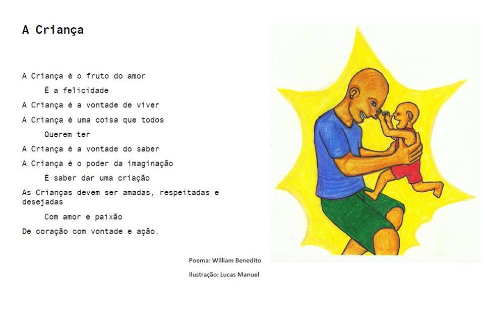 Poema e ilustração (criança brinca com nariz de adulto que a segura ) sobre a criança