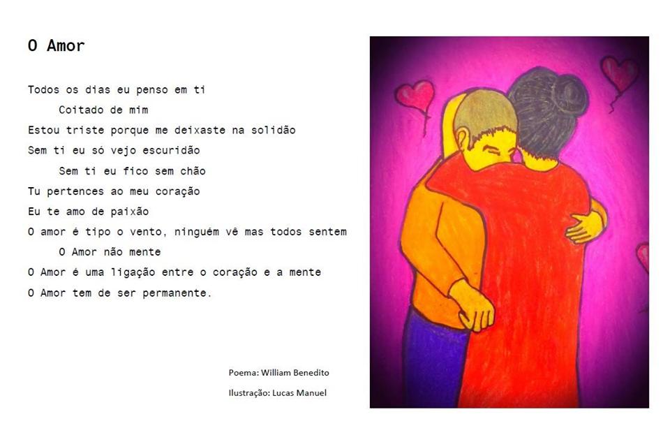 Poema e ilustração (homem e mulher que se abraçam) sobre o amor