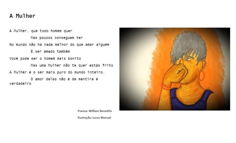 Poema e ilustração (uma mulher de cabelo curto) sobre a mulher