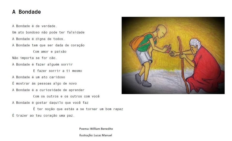 Poema e ilustração (jovem dá algo a um pedinte) sobre a bondade