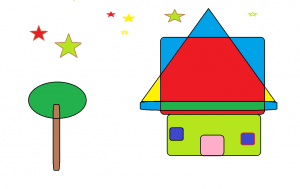 Desenho elaborado no Paint representando uma casa rodeada por estrelas e uma árvore.