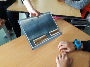 A mediadora cultural mostra aos alunos dois exemplares da pele de tubarão.