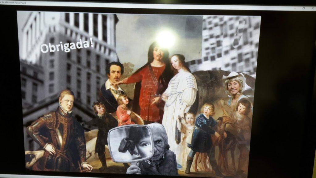 Composição com retratos antigos e fotos recentes