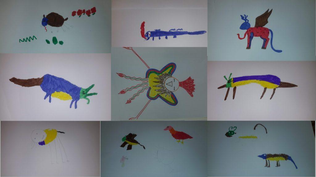 Desenhos dos animais que foram criados