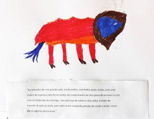 Pintura de um aluno: animal de quatro patas com rosto indefinido, parecido com um leão.