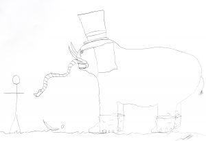 Desenho a carvão de um elefante com uma tromba muito pequena como uma cobra, orelhas com o formato de folhas de papel, chapéu de coco, dentes curvados para cima e óculos.