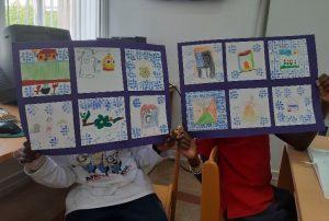Desenhos de azulejos criados pelos alunos
