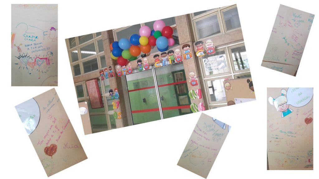 Entrada do Hsopital com balões e jornal de parede com mensagens