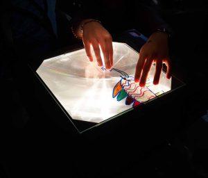 Sobre a luz emitida por retroprojetor, as mãos de uma aluna compõem os movimentos do seu animal colorido.