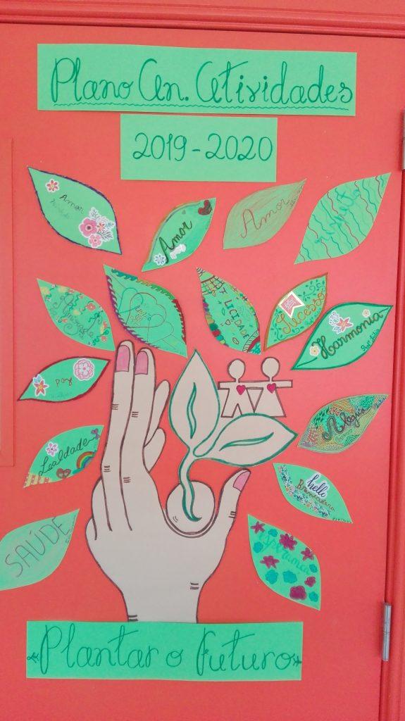Mão com semente, duas pessoas de maos dadas e folhas de árvore com palavras a plantar. Escrito em cima Plano An. Atividades 2019-20 e ao fundo Plantar o futuro