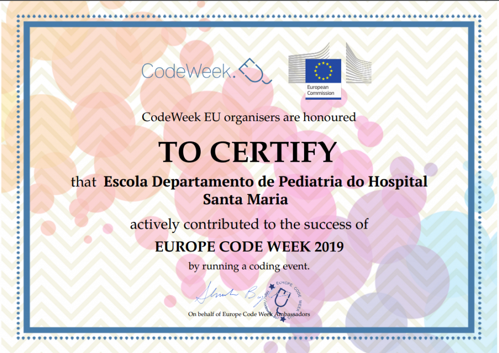 Certificado CodeWeek para Escola do HSM