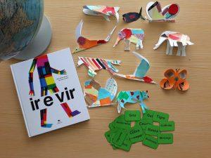 Alguns dos trabalhos finais: formas de animais, como o gnu, elefante, andorinha, borboleta, zebra, foram decorados com papel de seda de várias cores.