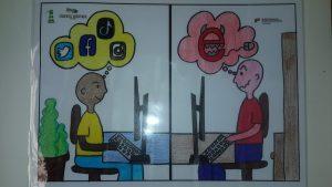 Do lado esquerdo alguém pensa nas redes sociais. Do lado direito pensa num rato ligado a um E vermelho com chifres e dentes afiados