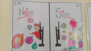 Do lado direito palavra N@o e rapaz a sair do ecrã e menina num balão de fala. Do lado direito menino e menina a falaraem e computador ao lado