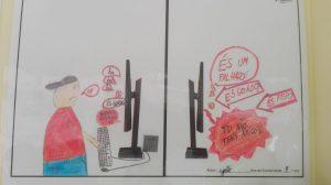 """Do lado esquerdo menino no computador e do lado direito computador com balões com texto """"És um falhado"""", """"És gordo"""".."""