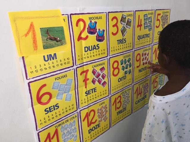 Aluno a estudar num mural com números e quantidades