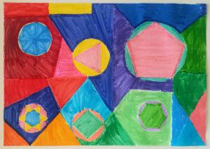 Trabalho com formas geométricas pintadas de várias cores e que produz um efeito de movimento e grandes contrastes.