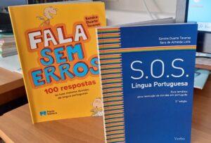"""Os livros que foram o mote para esta atividade: """"Fala sem erros"""" e """"SOS Língua Portuguesa."""