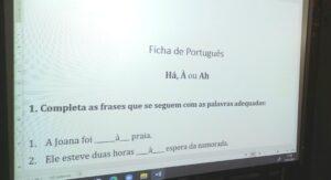 Uma ficha de Português sobre ortografia para verificação das aprendizagens: a diferença entre Ah, à e há.