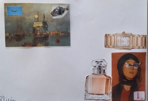 Dois trabalhos: uma paisagem com caravelas e naus e a colagem de um helicóptero e de um avião; um retrato antigo de uma senhora com colagem de óculos, perfumes e relógios.