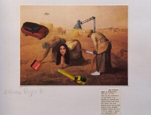 """Representação do famoso quadro """"As Respigadoras"""", do século XIX, com colagem de um automóvel, avião, fita métrica, cadeeiro elétrico, entre outros anacronismos."""